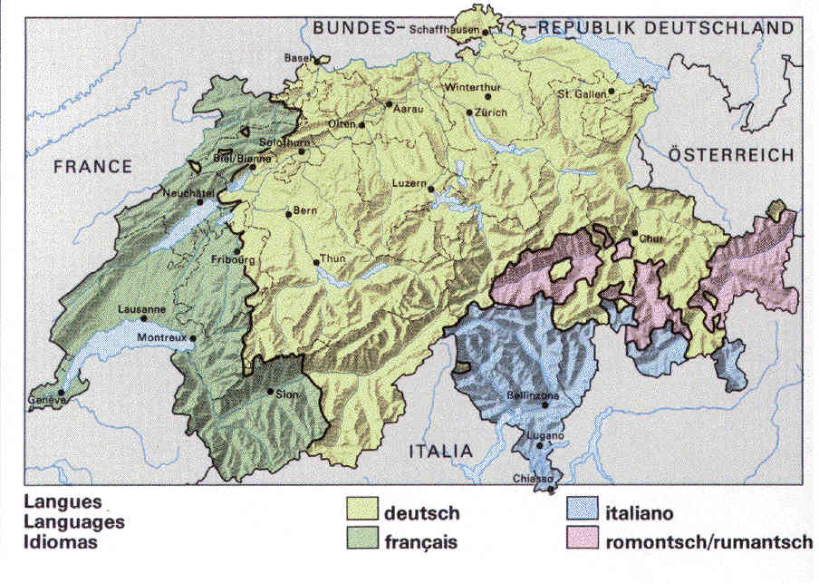 Topics Of General Importance For Swiss Genealogy - Languages map of switzerland
